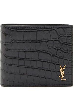 Saint Laurent Ysl Monogram Crocodile-effect Leather Wallet - Mens - Black