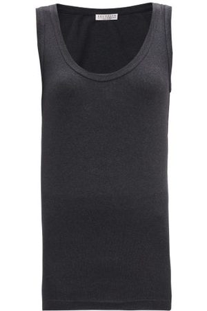 Brunello Cucinelli Scoop-neck Cotton-blend Jersey Tank Top - Womens - Dark Grey