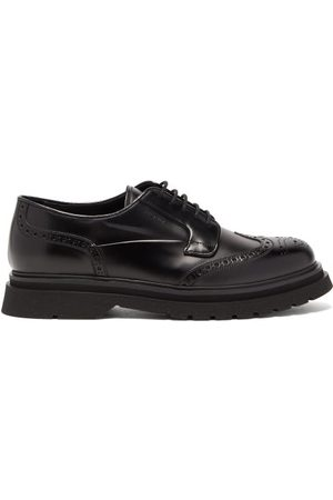 Prada Ridged-sole Spazzolato-leather Brogues - Mens - Black