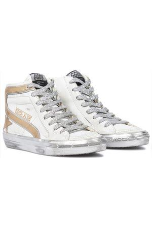 Golden Goose Slide metallic leather sneakers