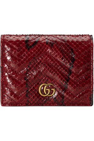Gucci Dames Portemonnees - GG Marmont python card case wallet
