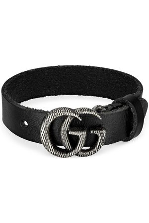 Gucci Engraved Double G leather bracelet