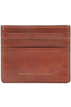 Brunello Cucinelli Stamped-logo Leather Cardholder - Mens - Brown