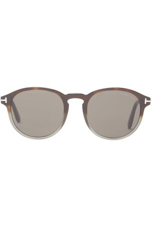 Tom Ford Round Acetate Sunglasses - Mens - Brown