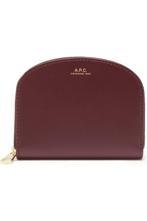 A.P.C. Half Moon Leather Wallet - Womens - Burgundy