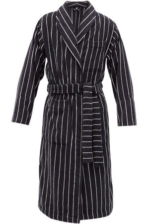 Tekla Striped Hooded Organic-cotton Terry Bathrobe - Mens - Black