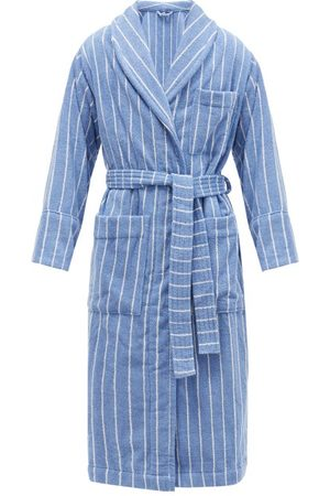 Tekla Striped Hooded Organic-cotton Terry Bathrobe - Mens - Light Blue