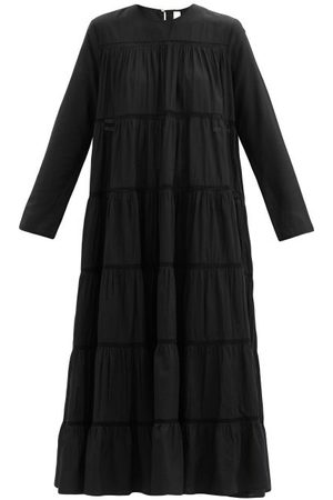 Merlette Maida Tiered Cotton And Silk-blend Midi Dress - Womens - Black