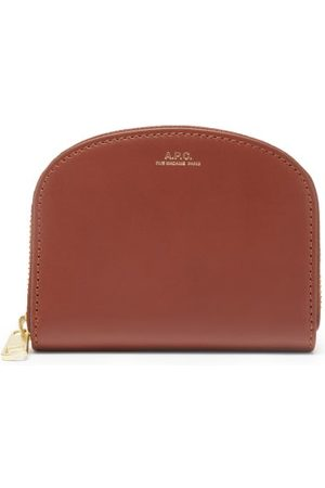 A.P.C. Half Moon Zip-around Leather Wallet - Womens - Tan