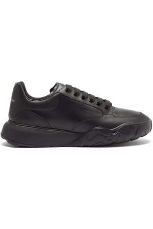 Alexander McQueen Court Raised-sole Leather Trainers - Mens - Black