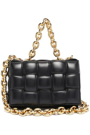 Bottega Veneta The Chain Cassette Intrecciato-leather Bag - Womens - Black Gold