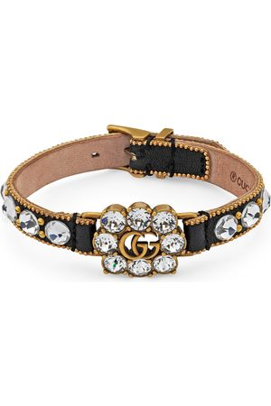 Gucci Crystal Double G leather bracelet