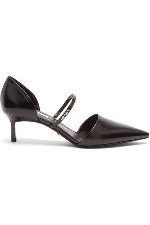Prada Point-toe Spazzolato-leather D'orsay Pumps - Womens - Black