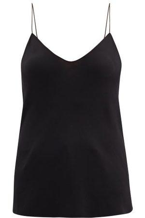 Raey Thin-strap Silk Crepe De Chine Cami Top - Womens - Black