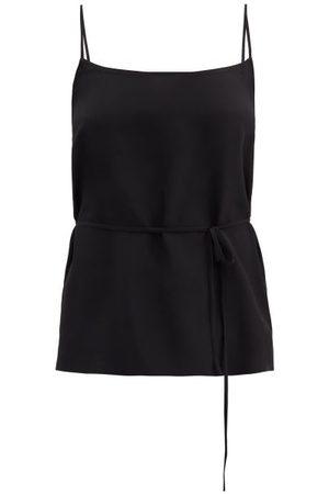 Raey Dames Spaghettitops - Tie-waist Silk Crepe De Chine Cami Top - Womens - Black