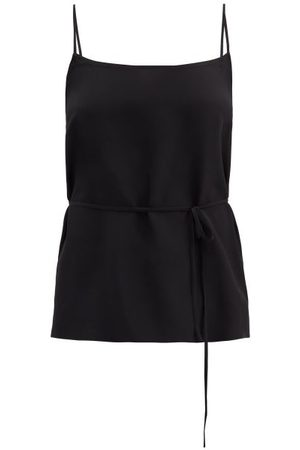 Raey Tie-waist Silk Crepe De Chine Cami Top - Womens - Black