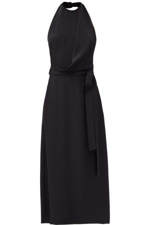 Raey Halter-neck Draped-front Wraparound Silk Dress - Womens - Black