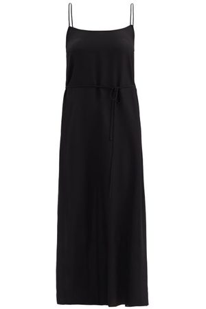 Raey Tie-waist Silk Crepe De Chine Slip Dress - Womens - Black