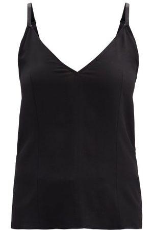 Raey V-neck Silk Crepe De Chine Cami Top - Womens - Black
