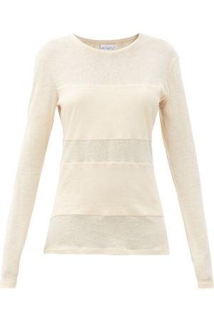 Raey Dames Lange mouw - Double-panel Long-sleeved Cotton-blend T-shirt - Womens - Pale Pink