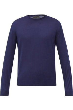 Prada Crew-neck Wool Sweater - Mens - Navy