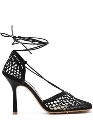 Bottega Veneta Stretch Wraparound Leather And Mesh Pumps - Womens - Black