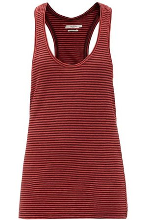 Isabel Marant Dames Tanktops - Avien Striped Scoop-neck Cotton-linen Tank Top - Womens - Red