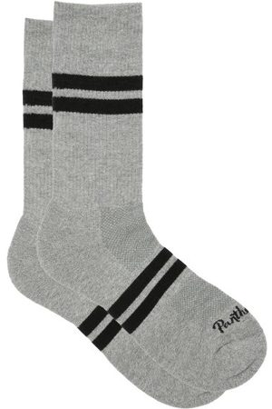 Pantherella Spirit Logo-jacquard Cotton-blend Socks - Mens - Light Grey