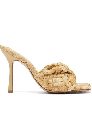 Bottega Veneta Stretch Square-toe Faux-raffia And Leather Mules - Womens