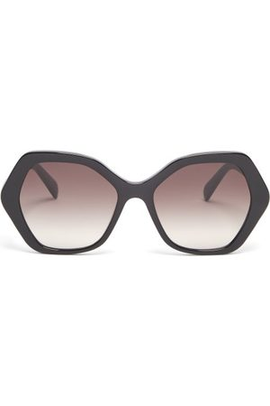 Céline Angular-round Acetate Sunglasses - Womens - Black