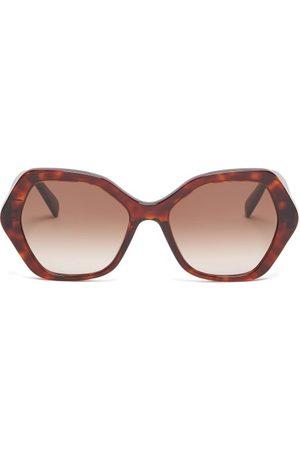 Céline Angular-round Tortoiseshell-acetate Sunglasses - Womens - Tortoiseshell