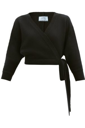 Prada Wrap-front Wool-blend Cardigan - Womens - Black