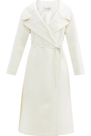 VALENTINO Dames Wollen jassen - Double-breasted Belted Wool-blend Coat - Womens - Ivory