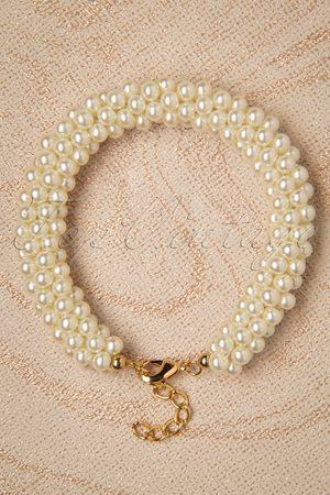 TopVintage Dames Armbanden - 50s Chunky Pearl Bracelet in Ivory