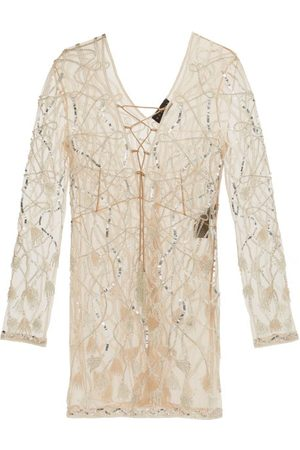 Dundas Laced-front Sequinned And Beaded Mini Dress - Womens - Nude