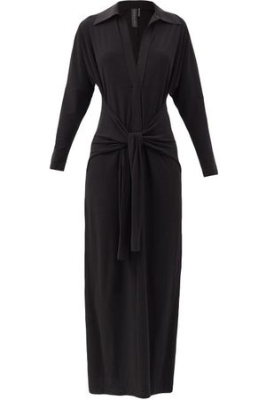 Norma Kamali Tie-front Stretch-jersey Maxi Dress - Womens - Black