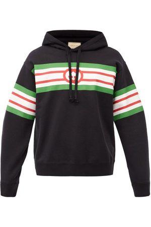 Gucci GG Logo-print Cotton-jersey Hooded Sweatshirt - Mens - Black