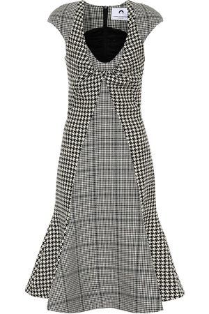 Marine Serre Dames Geprinte jurken - Checked wool midi dress