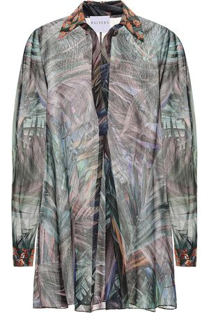 HALPERN Dames Geprinte jurken - Printed georgette lamé shirt dress