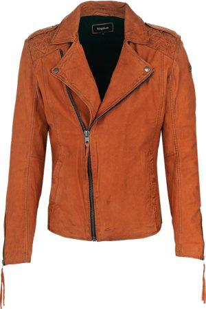 Tigha Heren Leren jassen - Heren Leren jas Elon buffed oranje (sunrise orange)
