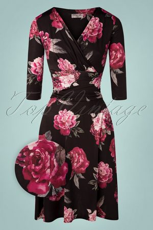 Vintage Chic for TopVintage 50s Candace Floral Swing Dress in Black