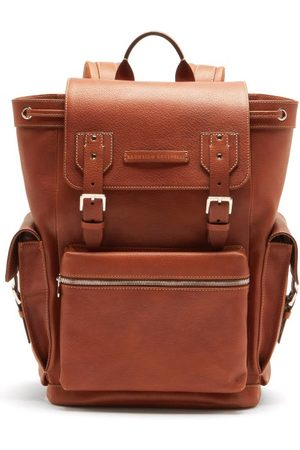 Brunello Cucinelli Heren Rugzakken - Leather And Perforated-suede Backpack - Mens - Brown