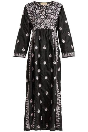 Muzungu Sisters Floral-embroidered Silk Dress - Womens - Black Pink