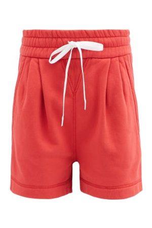 Miu Miu Logo-print Drawstring Cotton-jersey Shorts - Womens - Red