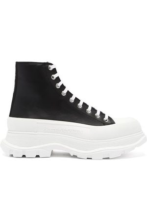 Alexander McQueen Heren Sneakers - Tread Slick Chunky-sole Canvas Trainers - Mens - Black White