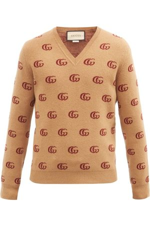 Gucci Heren Sweaters - V-neck Gg-jacquard Wool Sweater - Mens
