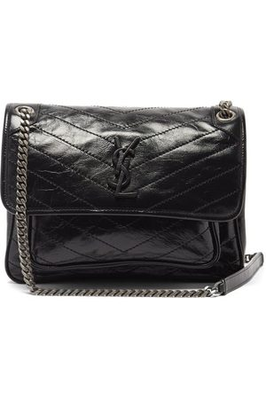 Saint Laurent Niki Medium Ysl-logo Quilted-suede Shoulder Bag - Womens - Black