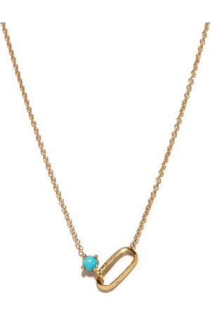 Lizzie Mandler December Birthstone Turquoise & 18kt Gold Necklace - Womens - Blue Gold