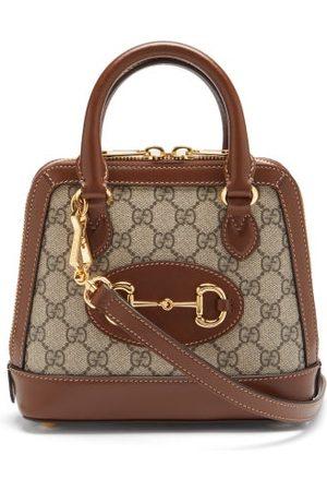 Gucci 1955 Horsebit Gg Supreme Mini Leather Bag - Womens - Brown Multi
