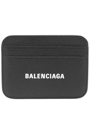 Balenciaga Logo-print Leather Cardholder - Womens - Black White